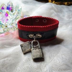 Vintage Punk Lock Charm Cuff Bracelet